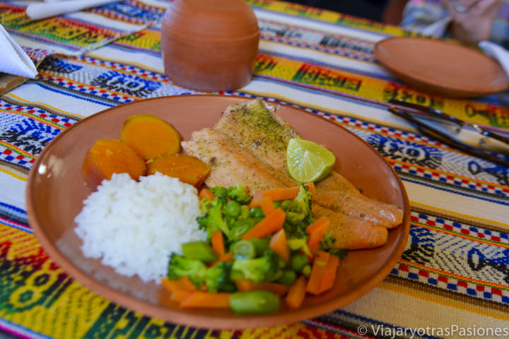 Típica deliciosa trucha y verduras que se puede comer en Perú en el lago Titicaca