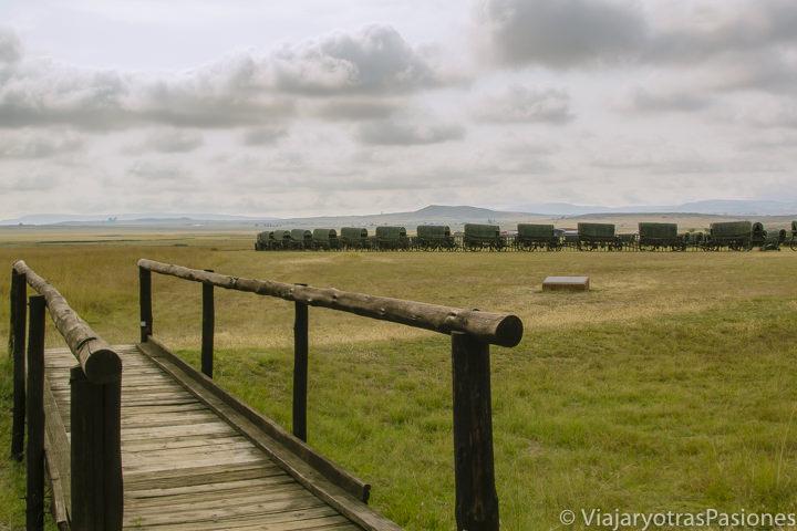 Monumento en el campo de batalla del Blood River, cerca de Dundee, Sudáfrica