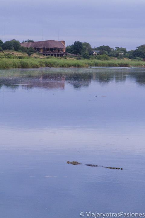 Increíble vista en el río Sabie cerca del campo Lower Sabie en el safari en el Kruger por libre en Sudáfrica