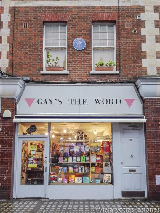 Fachada de Gay's the Word en las mejores librerías de Londres en Inglaterra