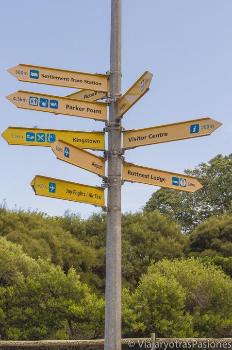 Señales para visitar Rottnest Island cerca de Perth y Freemantle en Western Australia