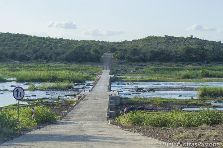Puente en el río Olifants en el safari en el Kruger por libre en Sudáfrica