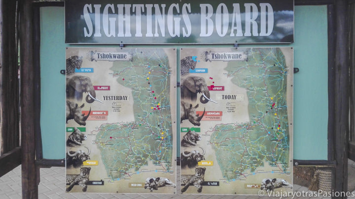 Mapa de avistamentos muy útil para hacer el safari en el Kruger por libre en Sudáfrica