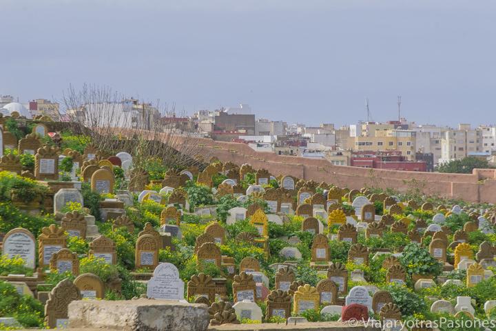 Vista de las lapides en el fotogénico cementerio As Shouhada de Rabat en Marruecos