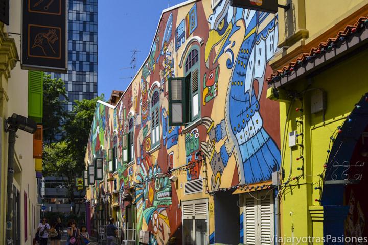 Street art en las calles de Kampong Glam en Singapur en un día