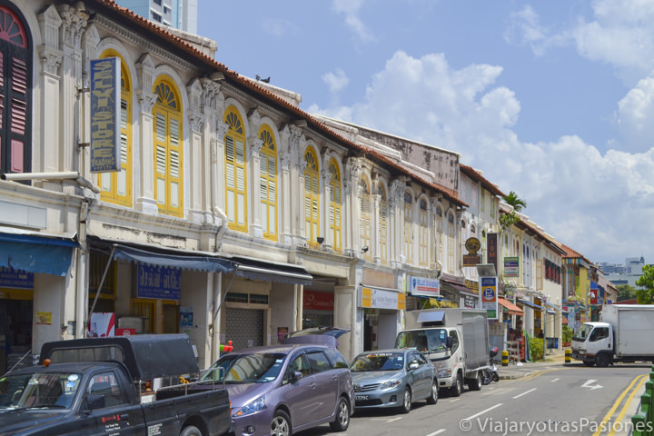 Casas coloniales en Little India en Singapur en un día
