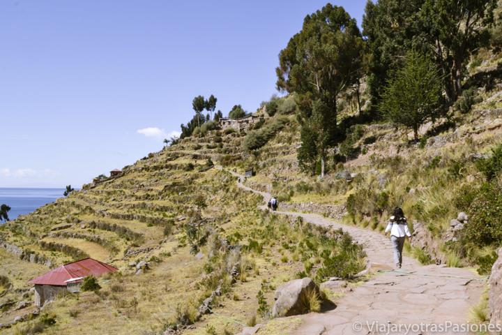 Camino en la Isla Taquile entre el puerto y el pueblo en el Lago Titicaca en Perú