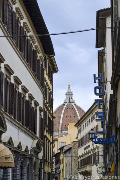 Bonita vista de la cúpula del Brunelleschi y del Duomo en el paseo por Florencia en un día en Italia