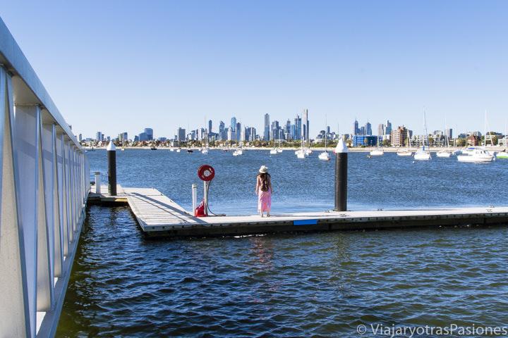 Increíble vista en el puerto de St. Kilda en Melbourne en Australia