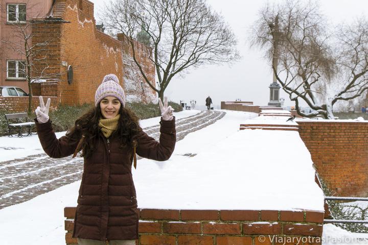 Sonriente en la muralla cerca de la ciudad vieja en Varsovia, Polonia