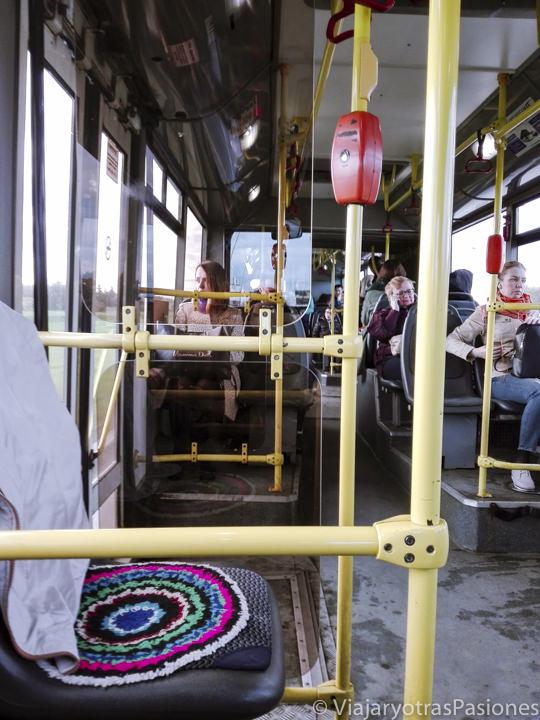 Interior del bus para ir a San Petersburgo desde el aeropuerto en Rusia