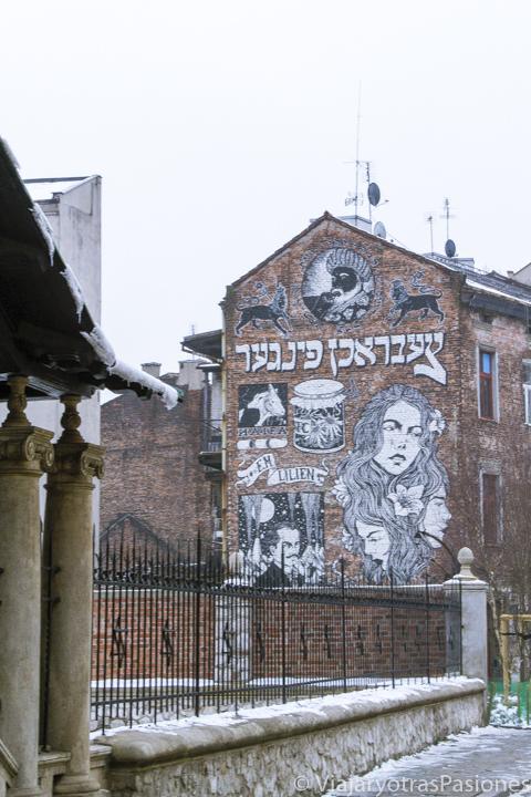 Street art en barrio judío de Kazimierz en Cracovia, Polonia