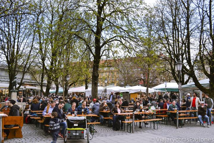 Terrazas y gente en el bonito mercadillo de Viktualienmarkt en Múnich