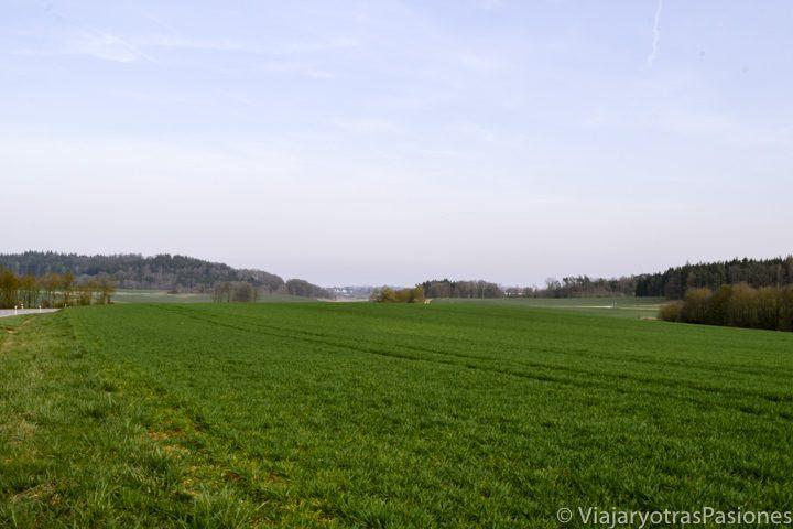 Hermoso paisaje de campos en la Ruta Romántica en Alemania
