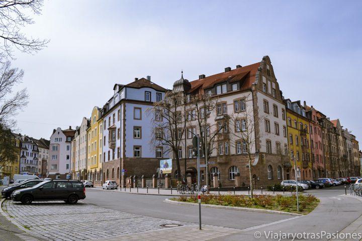 Típicas casas de barrio en Nuremberg en Alemania