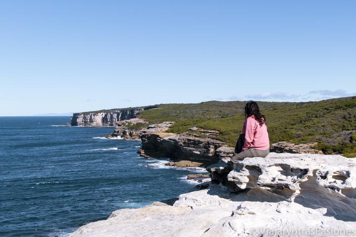 Mirando la costa en el Royal National Park, cerca de Sydney, Australia