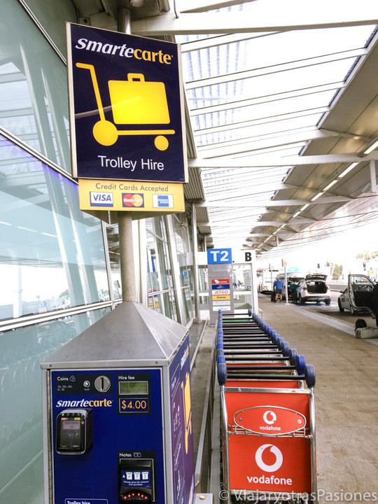 Carritos de pago en el aeropuerto de Sydney, Australia