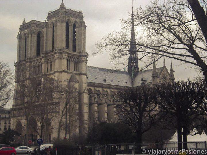 Fachada lateral de la catedral de Notre Dame, Paris