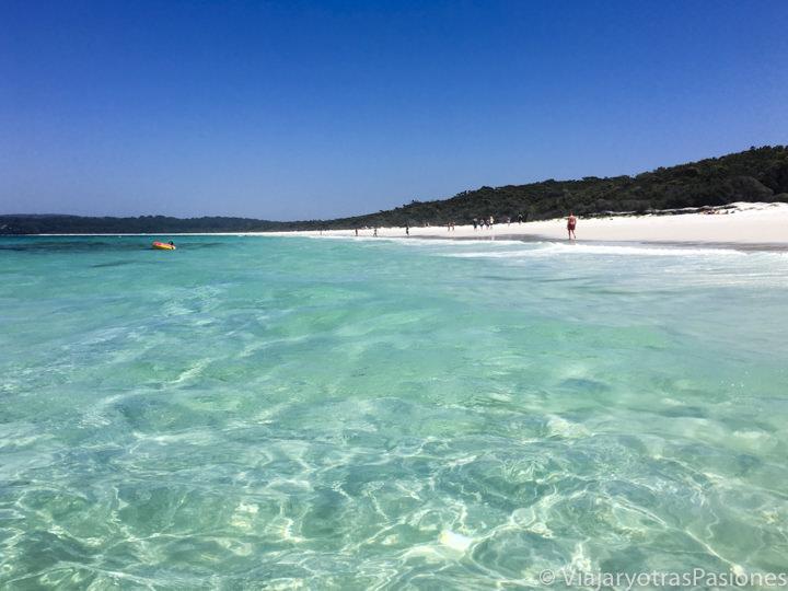 Increíble agua de Hyams Beach, en Jervis Bay, cerca de Sydney en Australia