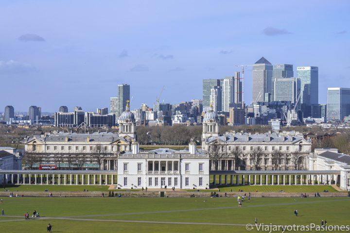 Increíble panorama desde el observatorio de Greenwich en Londres, Inglaterra