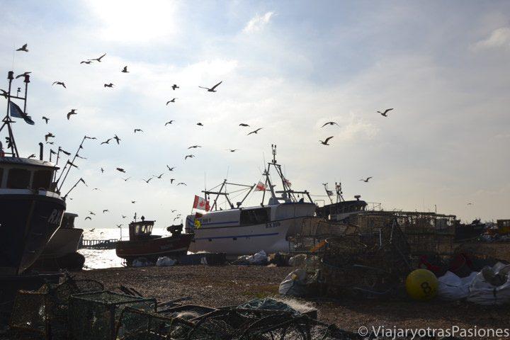 Barcas en la playa, en el Fishing Village de Hastings, sur de Inglaterra