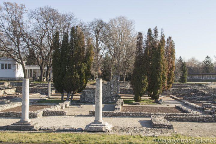 Parte de las ruinas romanas de Aquincum, cerca de Budapest, Hungría