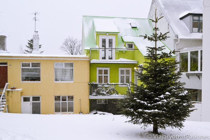 Bonitas casas de colores en Reykjavik en Islandia