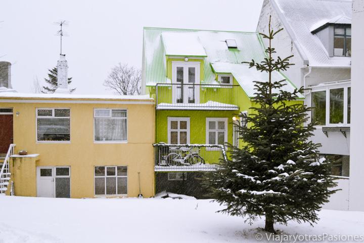 Bonito patio con casas de colores en Reikiavik, Islandia
