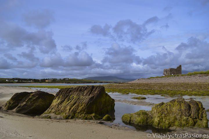 En primer plano, piedras y, al fondo, las ruinas en la playa de Ballinskelligs. Imprescindible al visitar las islas Skellig, al oeste de Irlanda