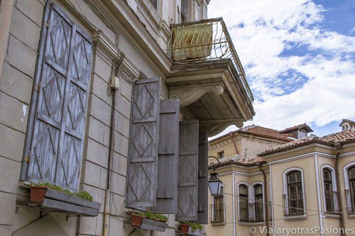 Casas típicas en el centro histórico de Plovdiv en Bulgaria