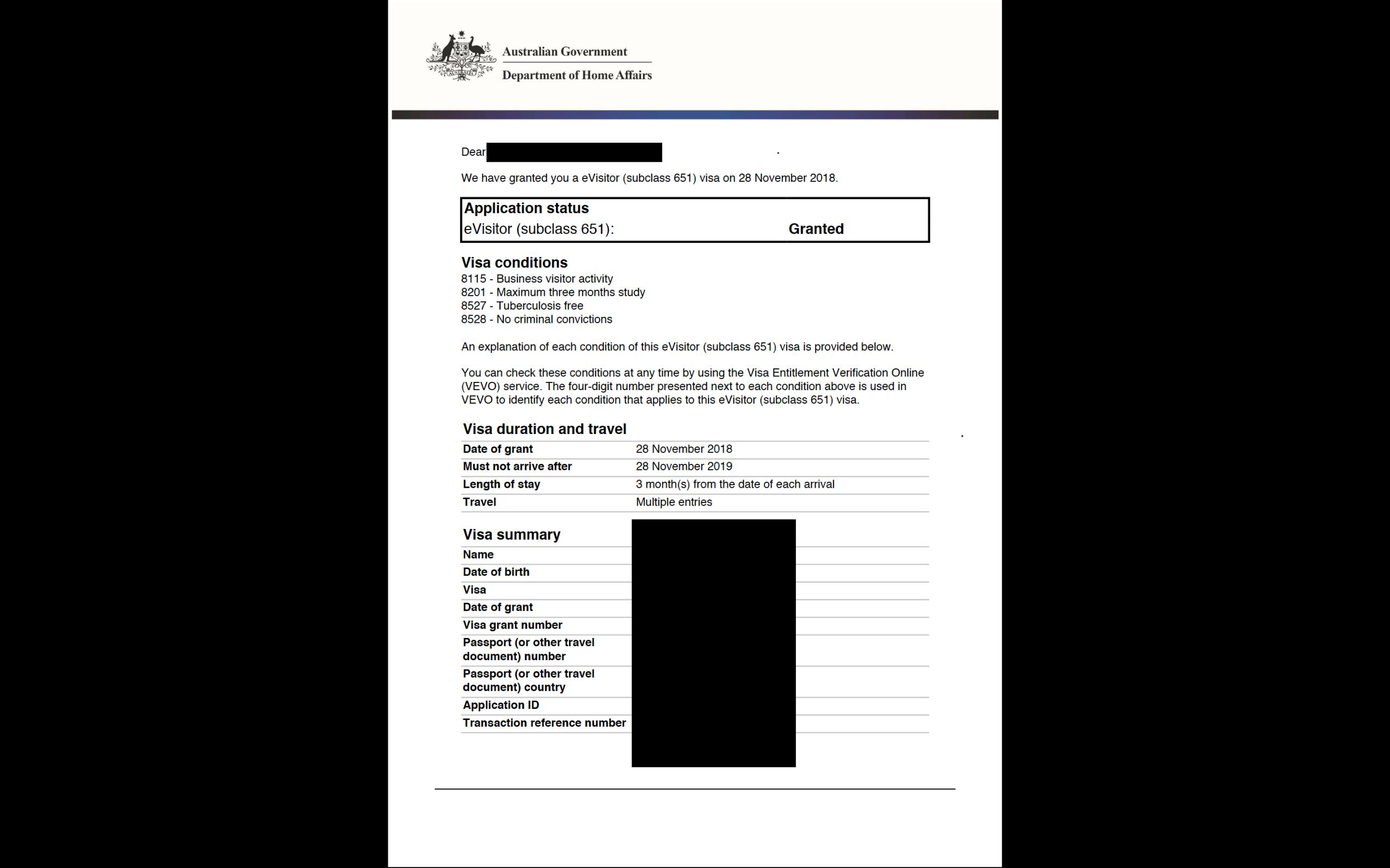 Imagen de un exemplo de una Visa de Turista para Australia