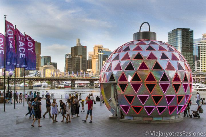 Panorama del famoso Darling Harbour en Sydney en Navidad