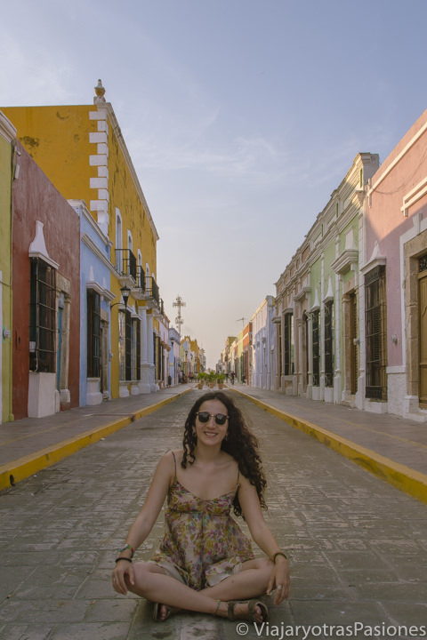 Typical street of Campeche with colonial houses on the road trip through the Yucatan Peninsula in Mexico