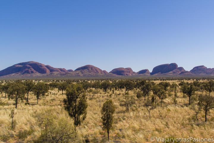 Vista panoramica de las Olgas o Kata Tjuta cerca de visitar Uluru en el Red Centre de Australia