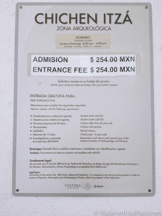 Precios de admisión zona arqueológica de Chichen Itza en México
