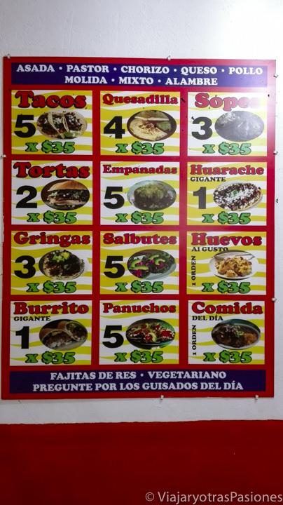 Precios de comida mexicana para el presupuesto del Road trip por la Península de Yucatán en México
