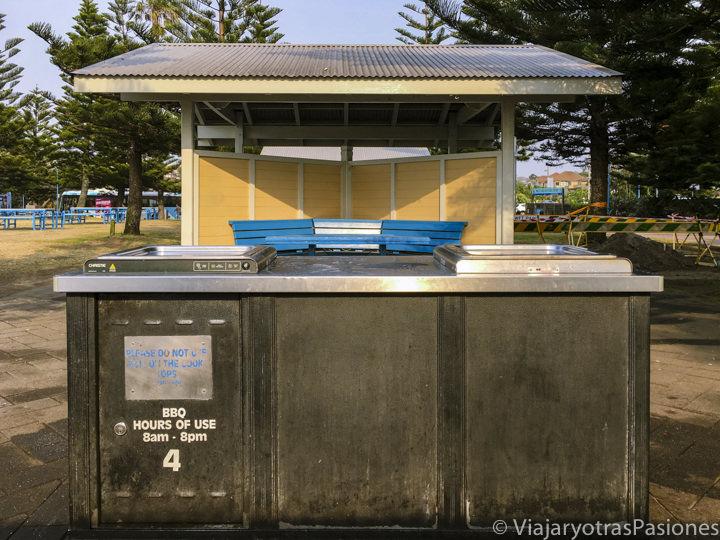 Típica barbacoa publica en la playa de Coogee, en Australia