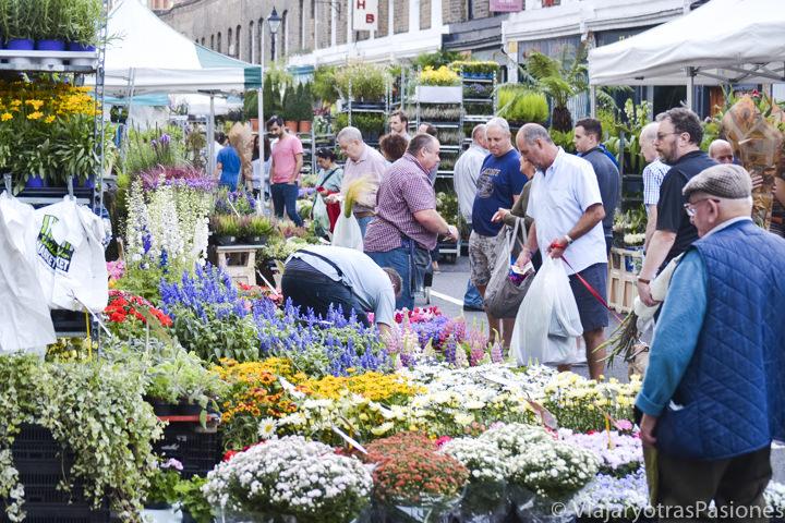 Bonita imagen del famoso Columbia Road Market en el este de Londres, Inglaterra