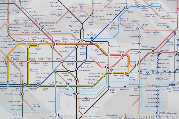 Imagen de la famosa mapa de la metro de Londres, Inglaterra