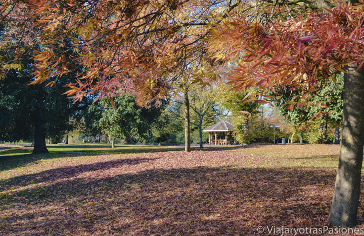 Hermosa imagen otoñal en Victoria Park en Londres, Inglaterra