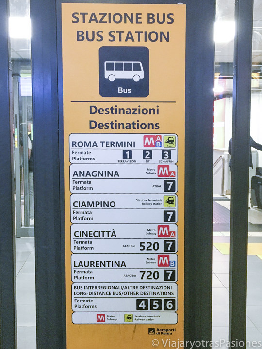 Destinos de los buses desde el aeropuerto de Ciampino cerca de Roma, Italia