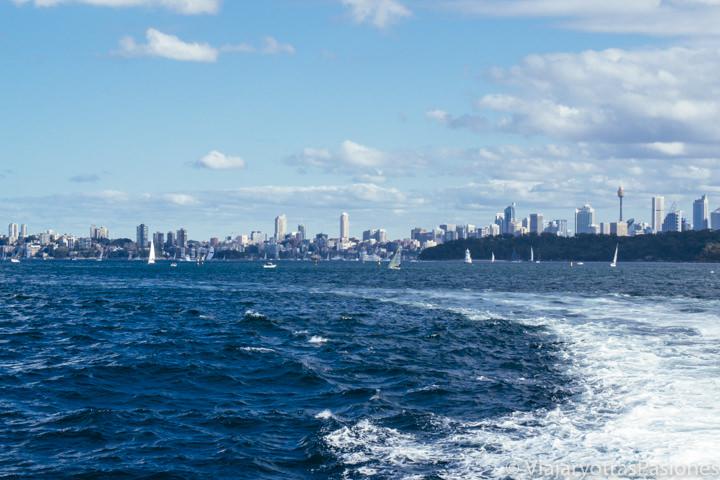 Vista del harbour de Sydney desde el crucero para ver la ballenas, Australia