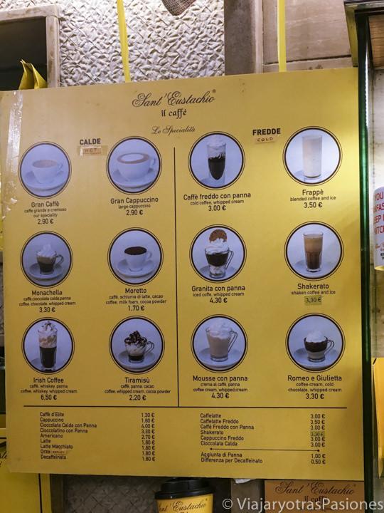 Menu con alguna de las especialidades del café Sant Eustachio en Roma, Italia