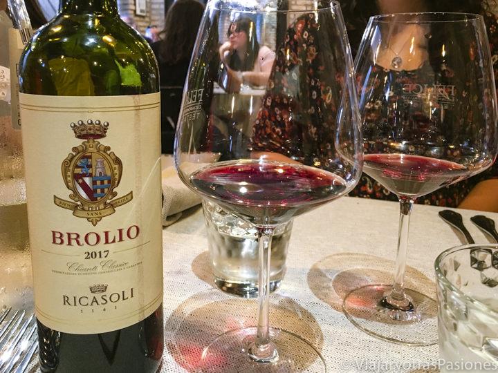 Imagen de una deliciosa botella de vino del Chianti