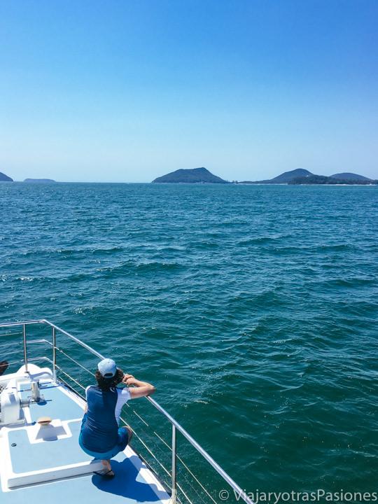 Increíble paisaje de la bahía de Port Stephens desde el barco para ver los delfines, Australia