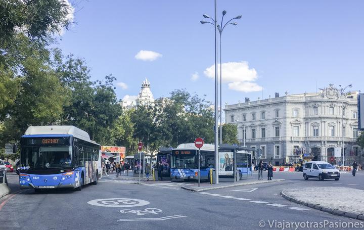 Parada de autobuses en el importante plaza de Cibeles en Madrid, España