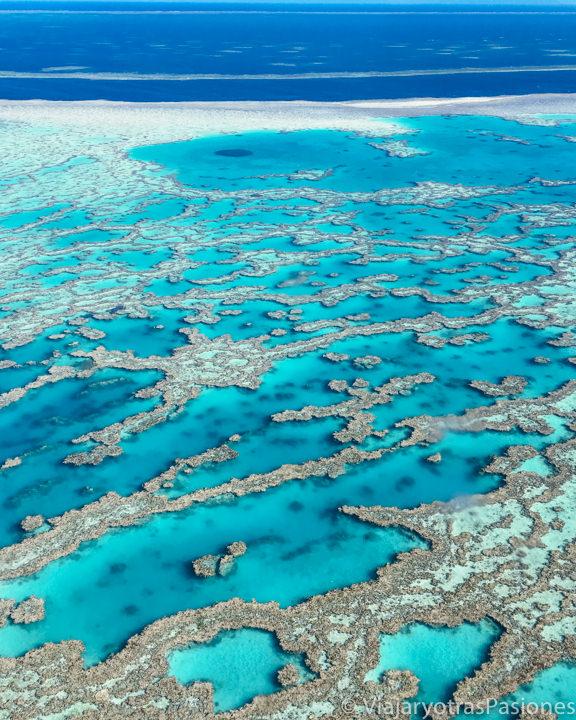 Espectacular imagen de la Gran Barrera de Coral desde al avión, Australia