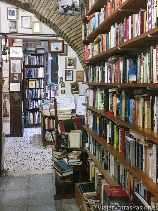 Interior de la famosa librería Open Door de Trastevere, Roma