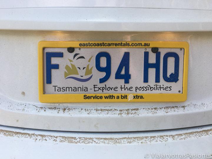 Típica matricula de Tasmania, Australia