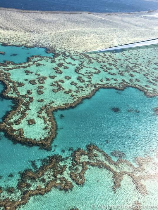 Panorama desde el avión de la Gran Barrera de Coral cerca de las islas Whitsundays, Australia